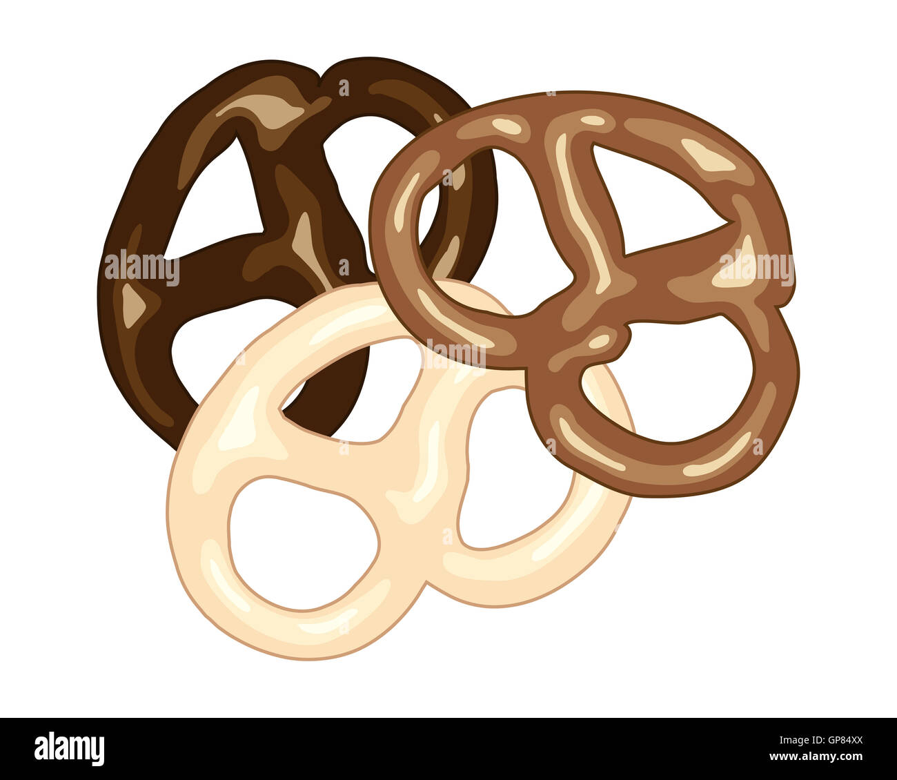 an illustration of dark milk and white chocolate covered pretzel snacks on a white background in advert format - Stock Image