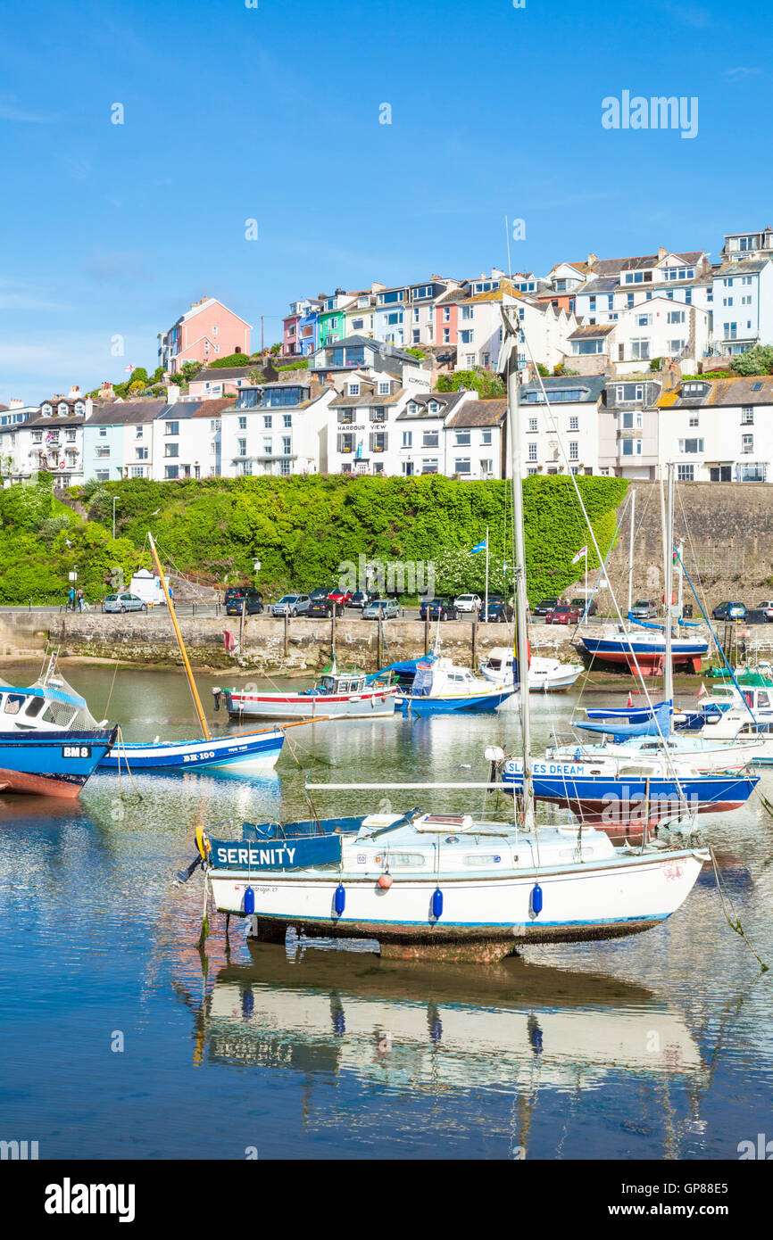 Yachts and fishing boats Brixham Harbour Brixham Devon England UK GB EU Europe - Stock Image