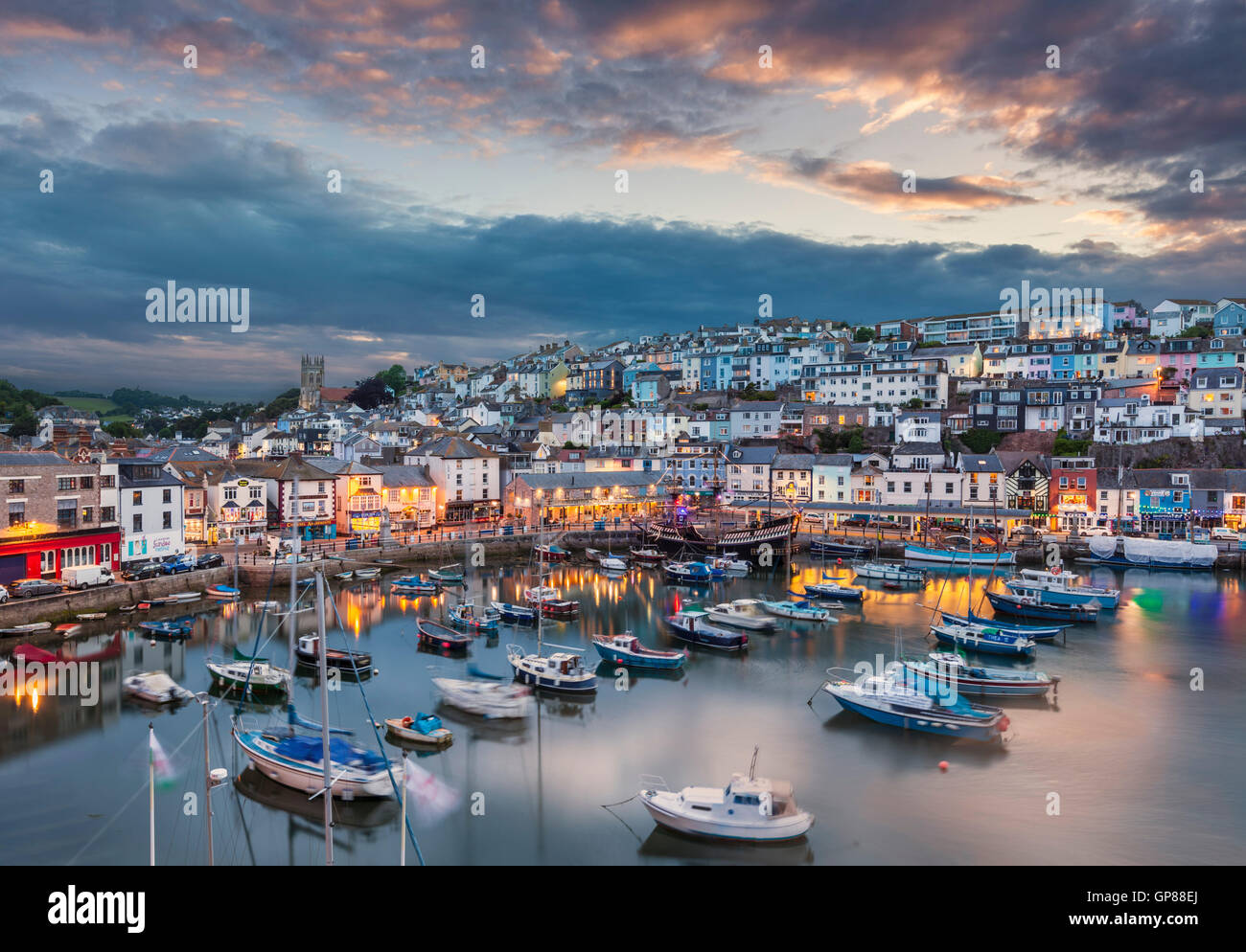 Brixham Harbour at sunset Brixham Devon England UK GB EU Europe - Stock Image