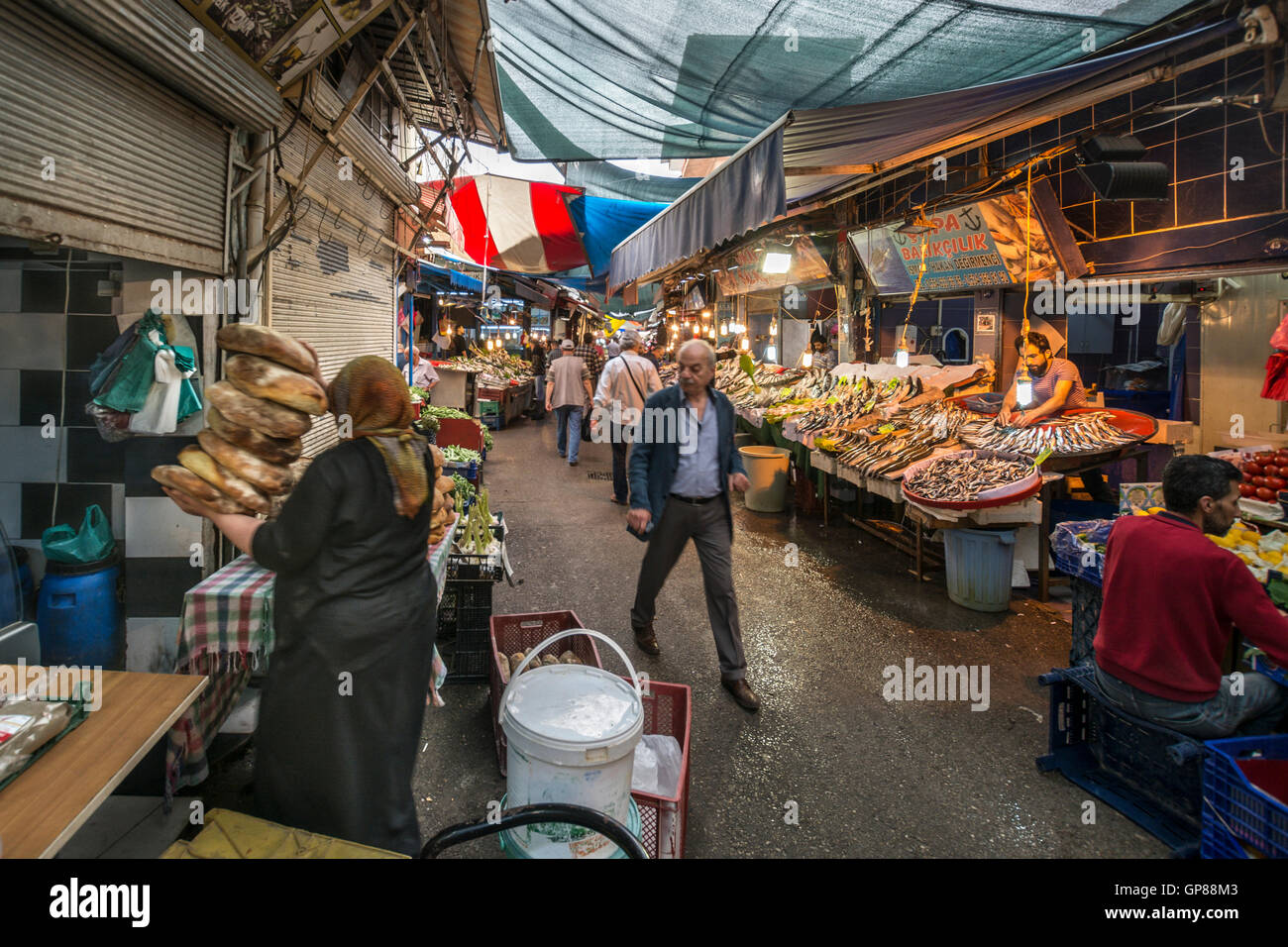Food Sellers At Synagogue Street Of Kemeralti Historical Bazaar Stock Photo Alamy