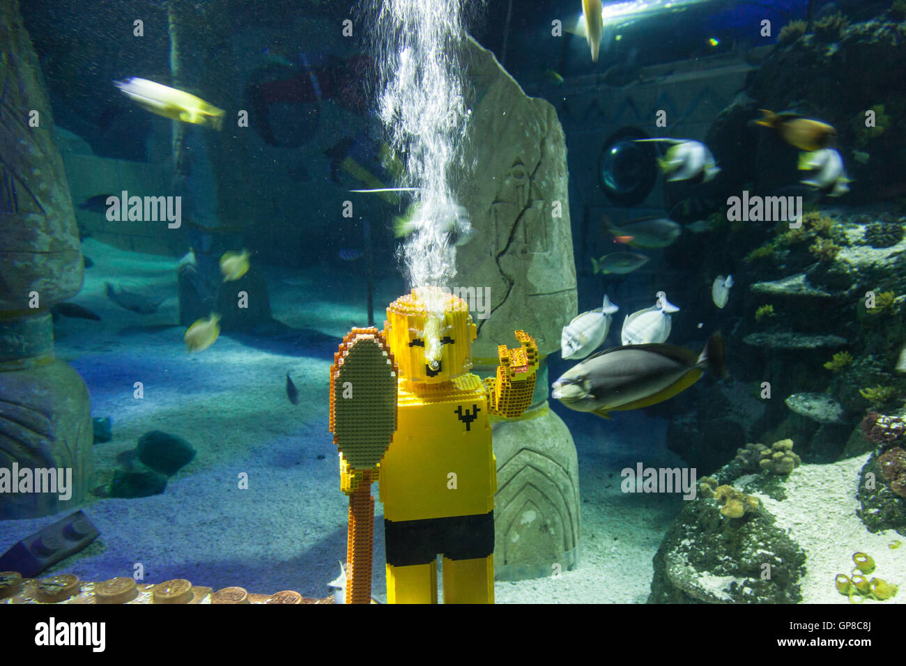 Lego diver at the Legoland Atlantis - Stock Image