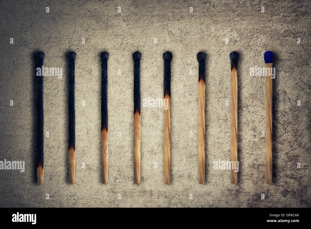 Set of burnt match at different stages, as a financial chart or graph showing business growth. Leadership concept - Stock Image