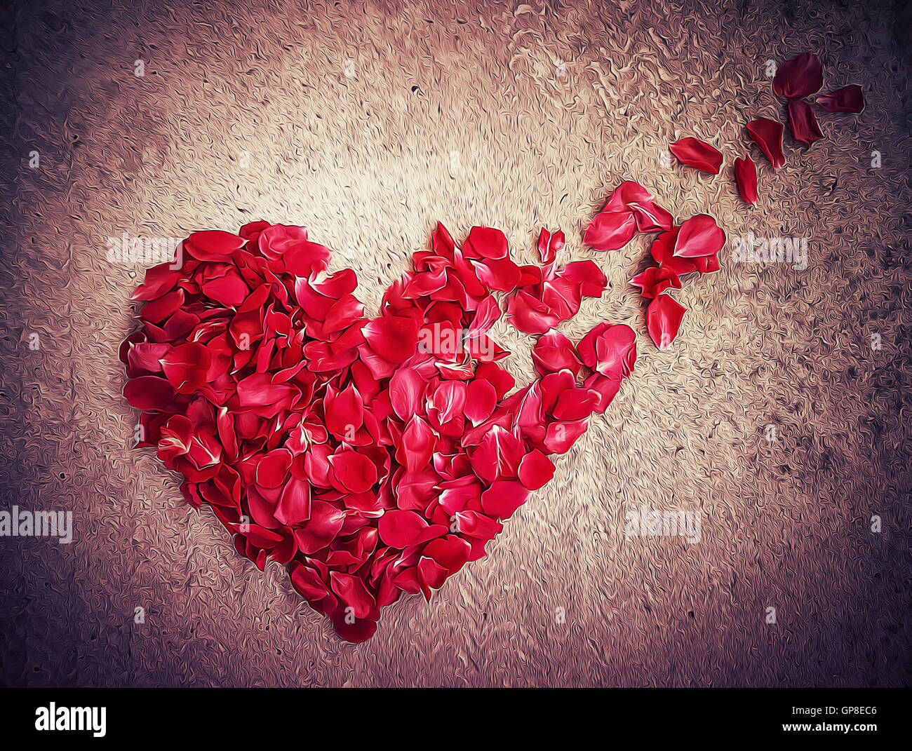Illustration of rose petals arranged in shape of a broken heart. Breakup concept, separation and divorce icon. Symbol - Stock Image