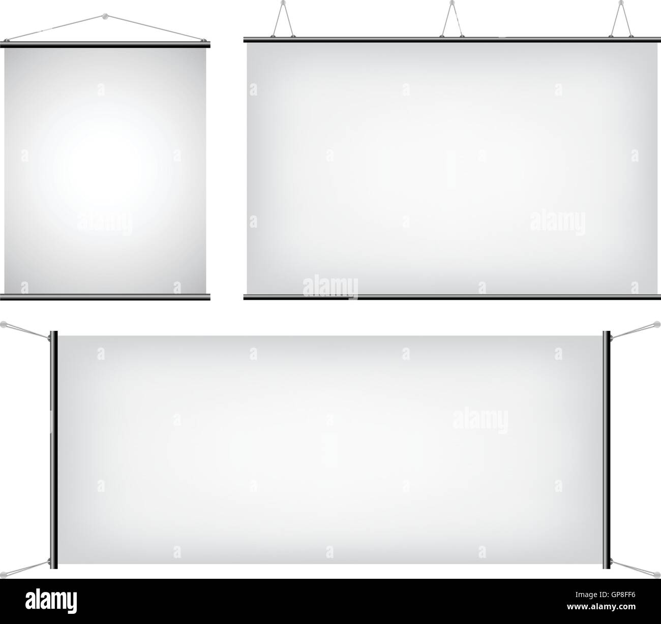a set of promotional canvas banners hanging - Stock Image