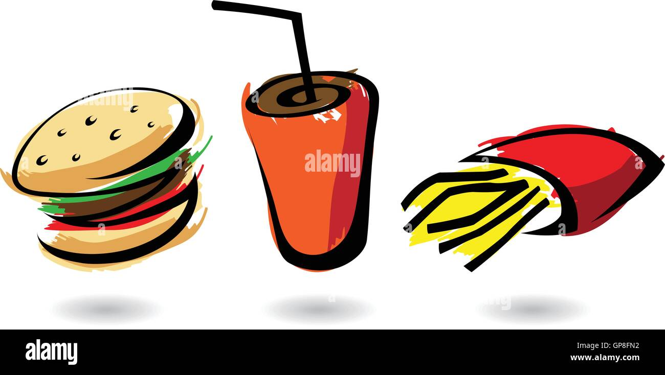 colourful fast food icons, isolated illustrations - Stock Vector