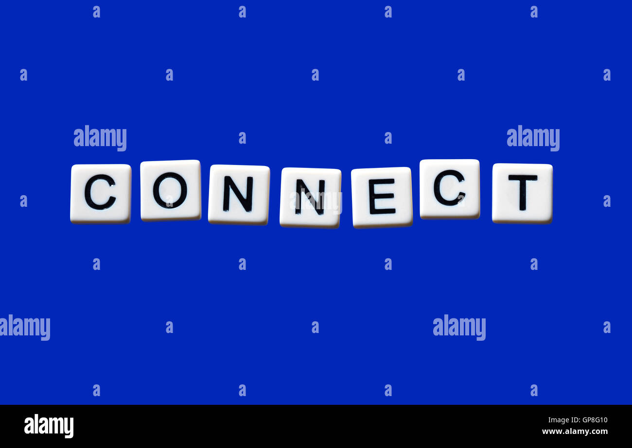 Connect highlighted on white blocks - Stock Image
