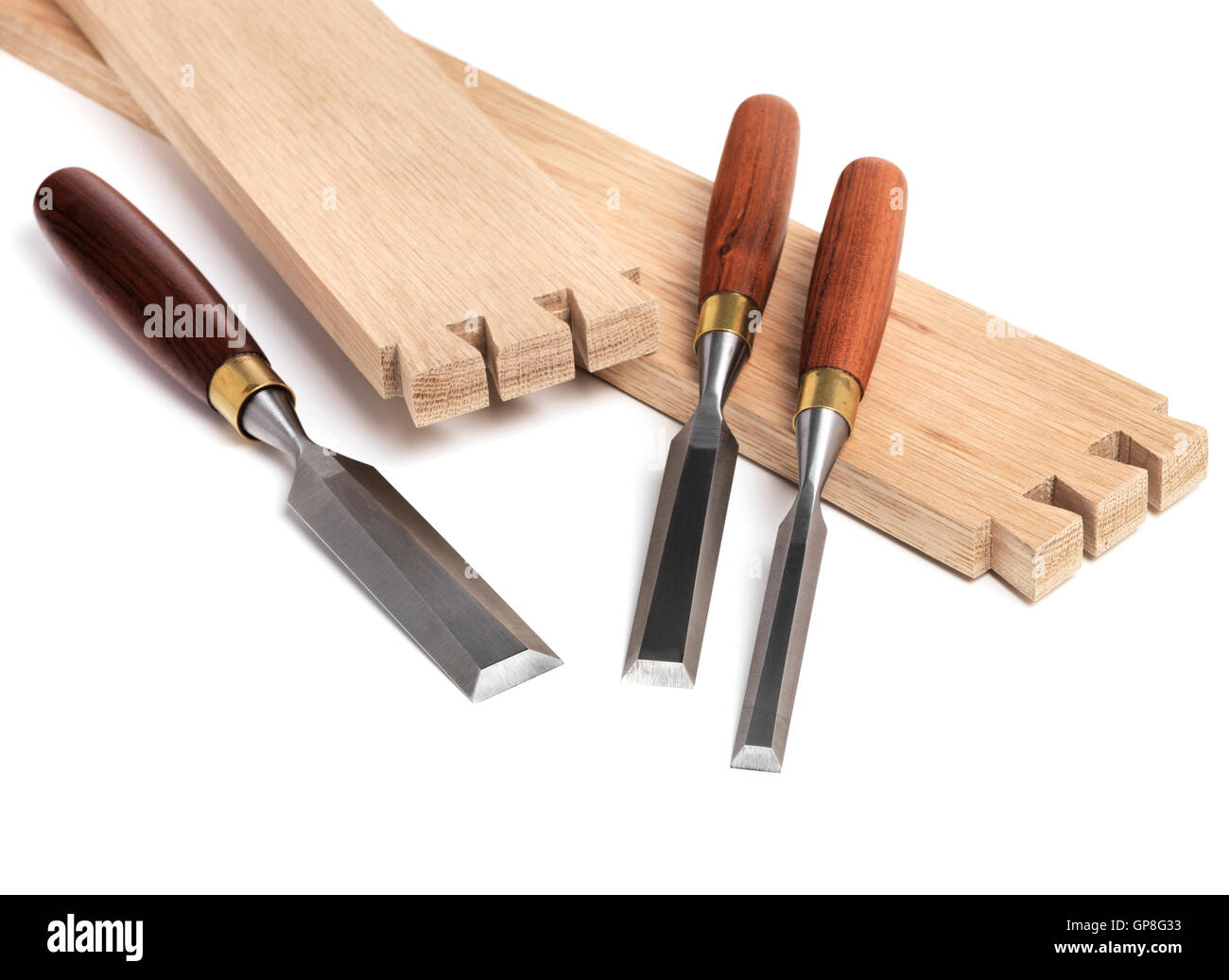 Wood Chisel set and wood joint - Stock Image