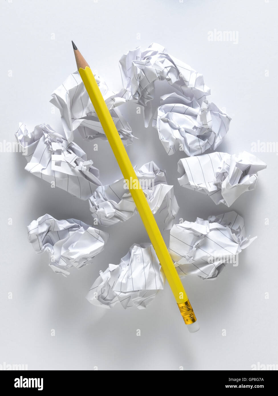 Yellow pencil isolated on a white background - Stock Image