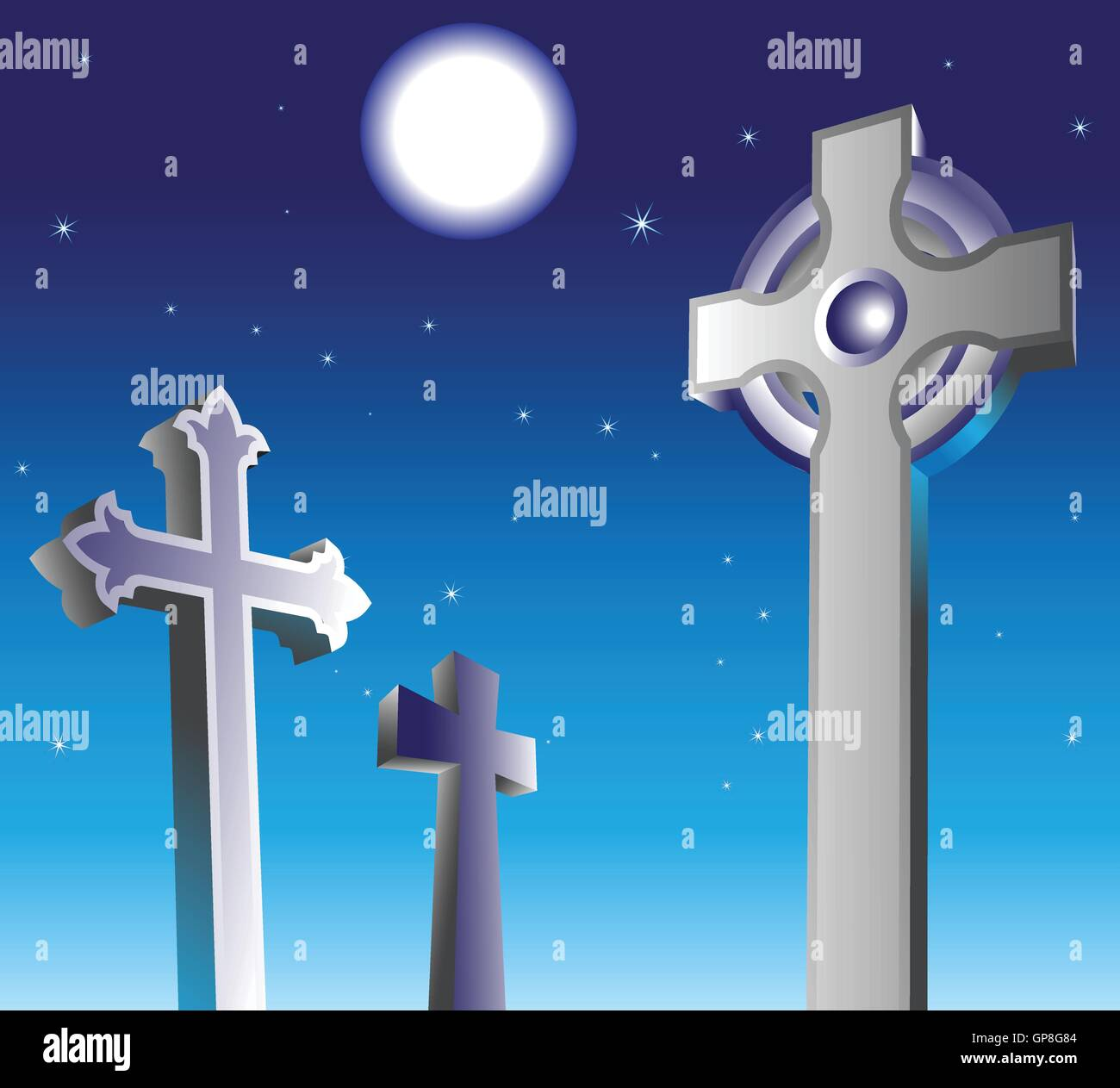 full moon and graveyard at night - Stock Vector