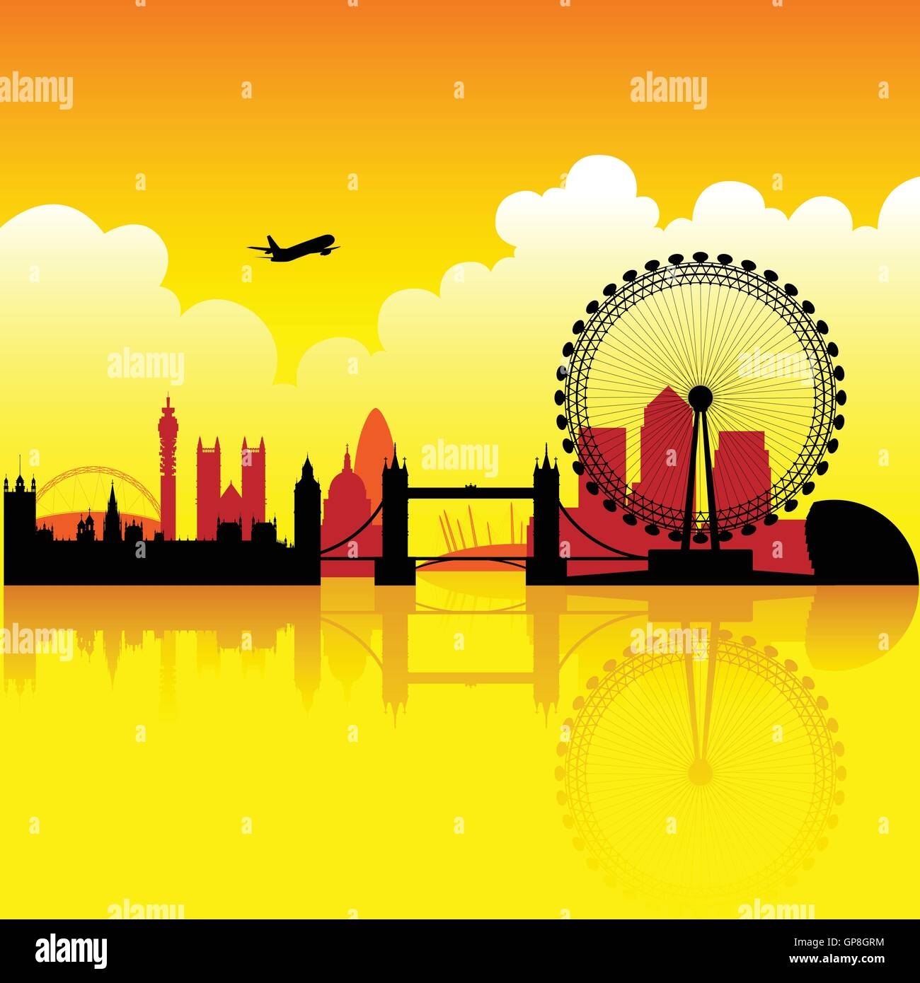 London skyline silhouette at dusk with reflection on thames - Stock Vector