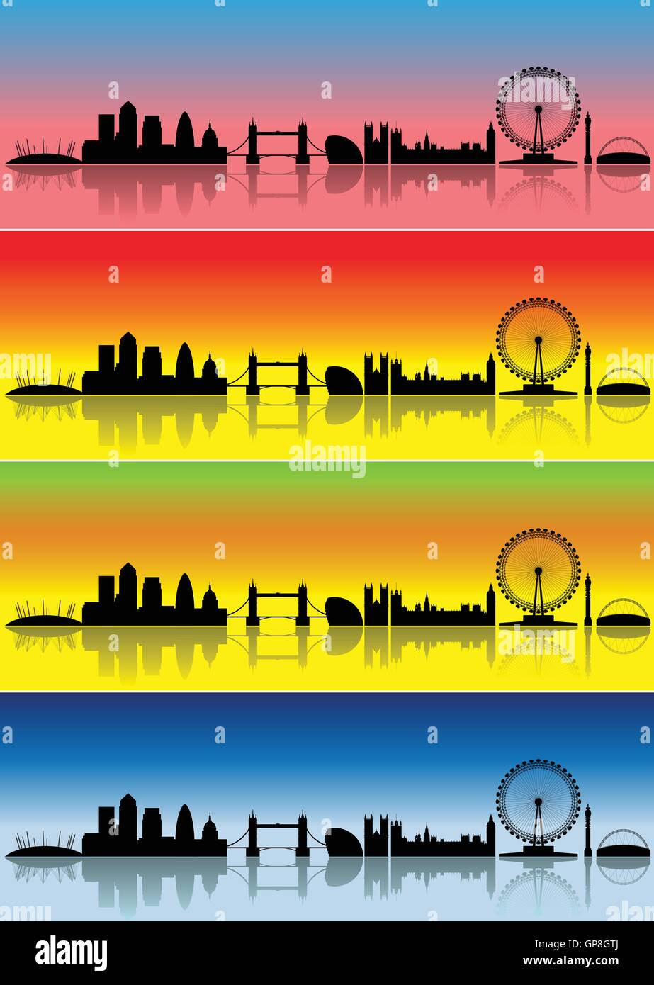 London silhouettes in different colours representing four seasons - Stock Vector