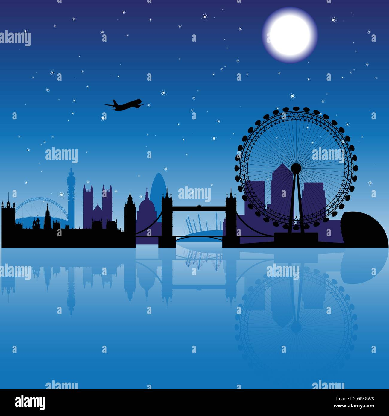 London silhouette at night with stars and moon on the background - Stock Vector