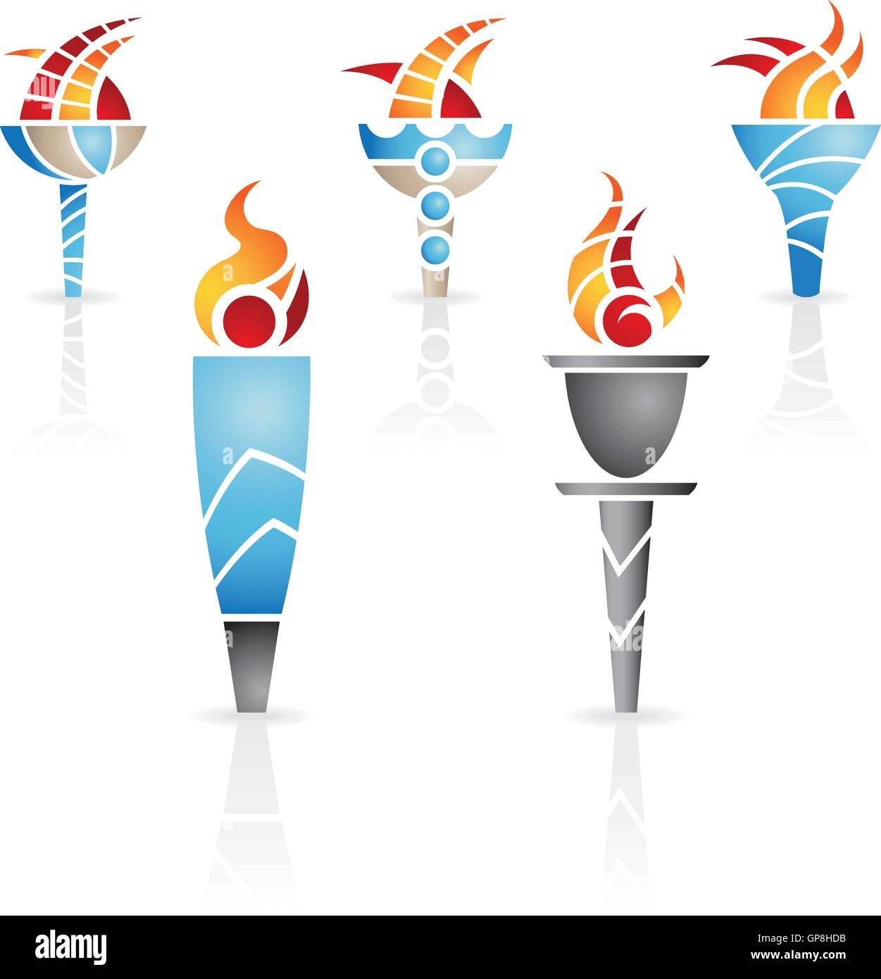 torches with fire and reflections - Stock Vector