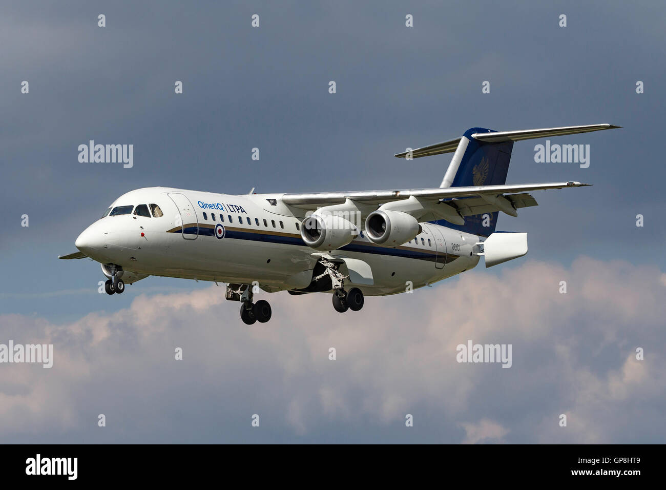 QinetiQ BAE Systems-Avro RJ100 QQ101 from the Empire Test Pilots School (ETPS) - Stock Image