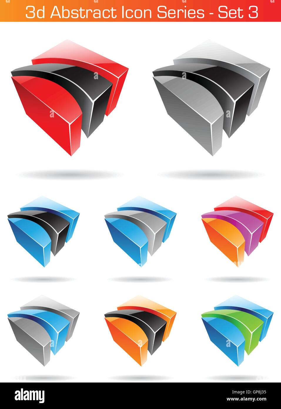 Vector EPS illustration of 3d Abstract Icon Series - Set 3 - Stock Vector