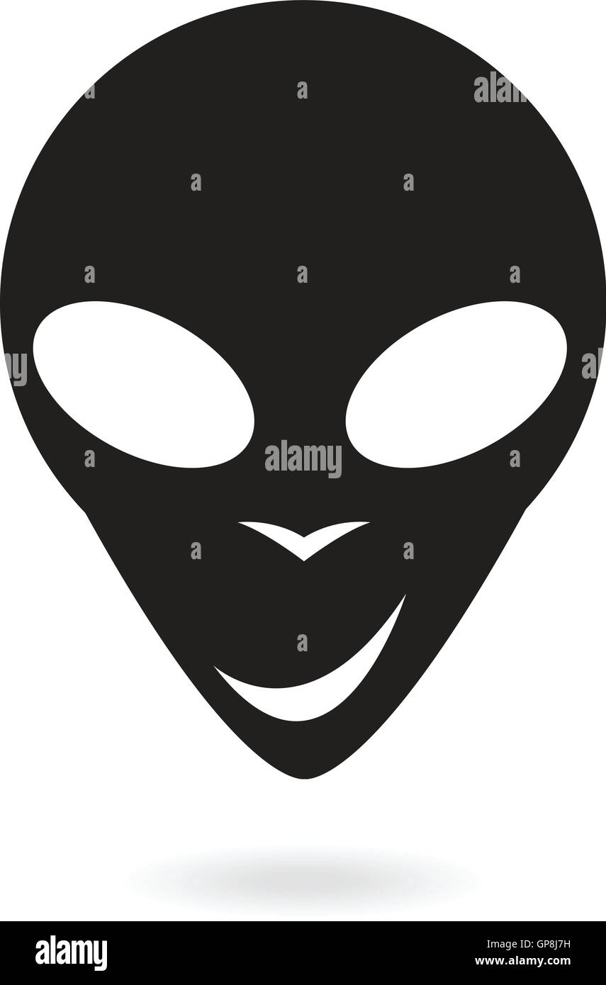 black alien isolated on white - Stock Image