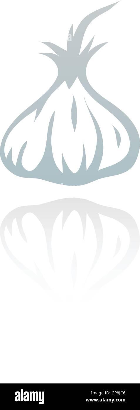 Line art garlic isolated on white - Stock Vector
