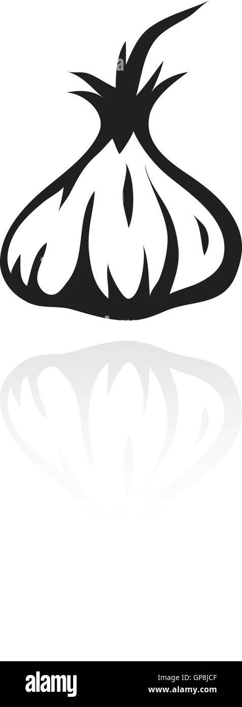 line art black garlic isolated on white - Stock Vector