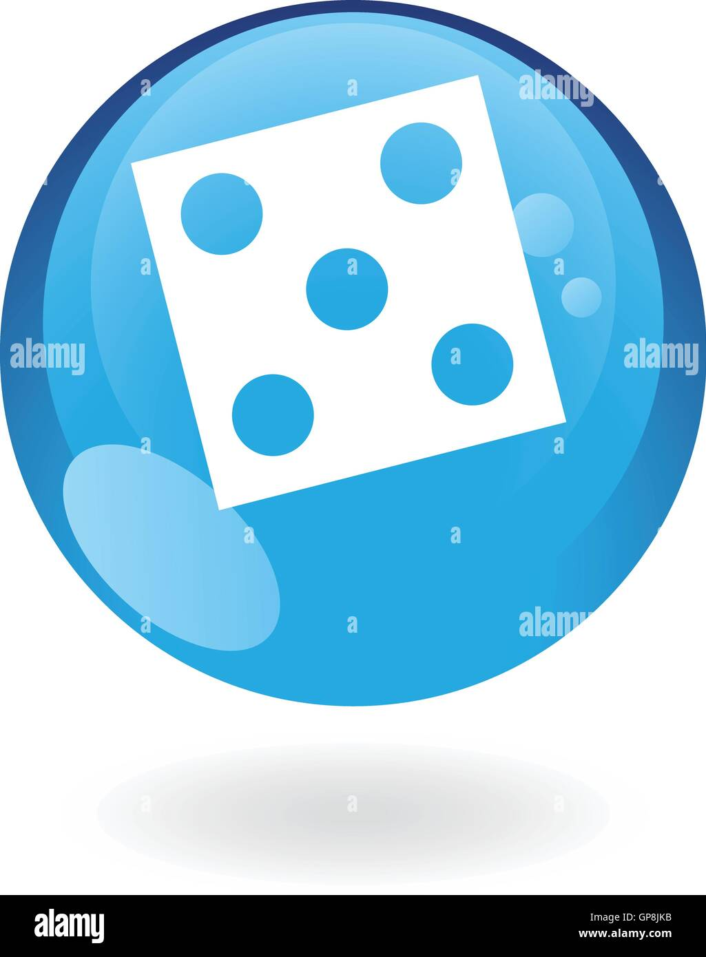 Blue dice isolated on white - Stock Image