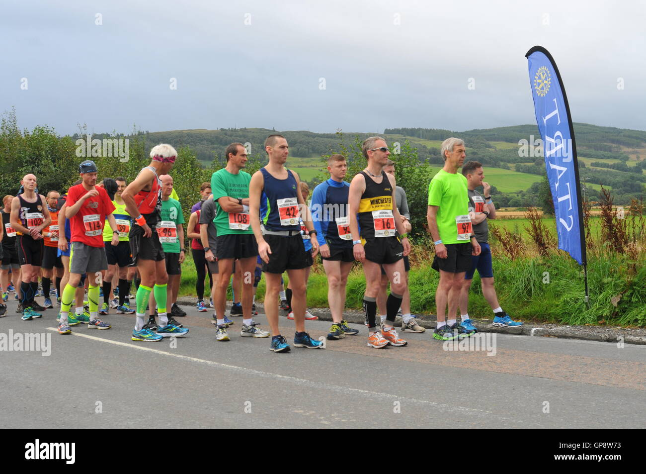 Aberfeldy, Perthshire, Scotland, UK. 3rd September, 2016. Long Distance runners at the start of the Highland Perthshire - Stock Image