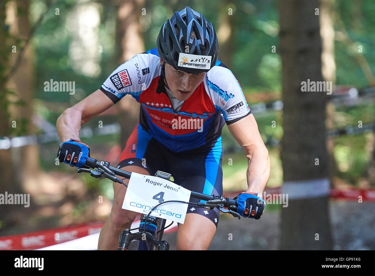 Landquart, Switzerland. 3rd September 2016. Winner Roger Jenni during the Grisons mountainbike championships in - Stock Image