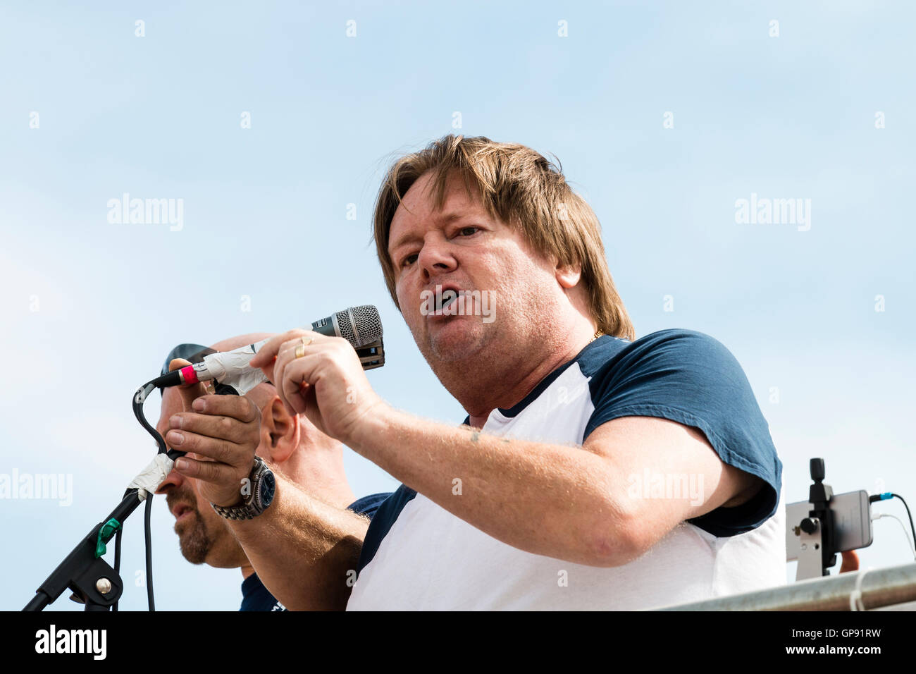 Ian Hodson, national president, Bakers Union, making speech. Close up, head and shoulders. Outdoors, addressing - Stock Image