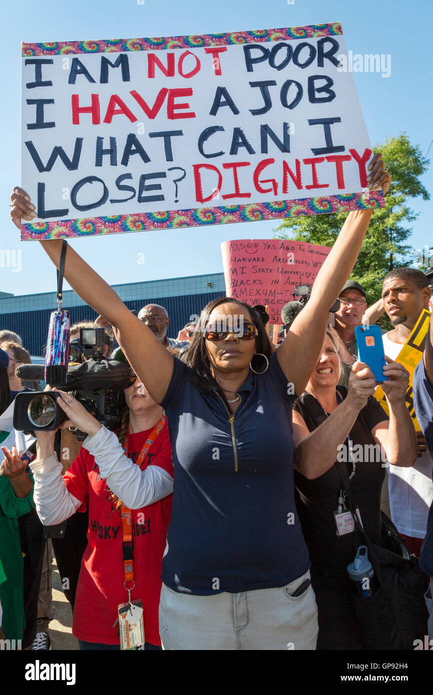 Detroit, Michigan - 3 September 2016 - Religious groups including many African-American pastors organized a protest - Stock Image