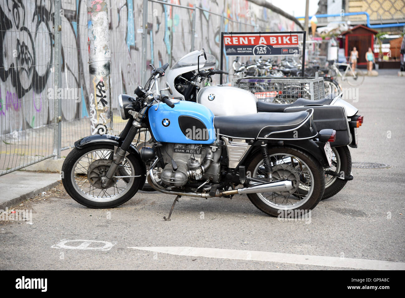 old bmw bike motorbike vintage rent a bike Stock Photo