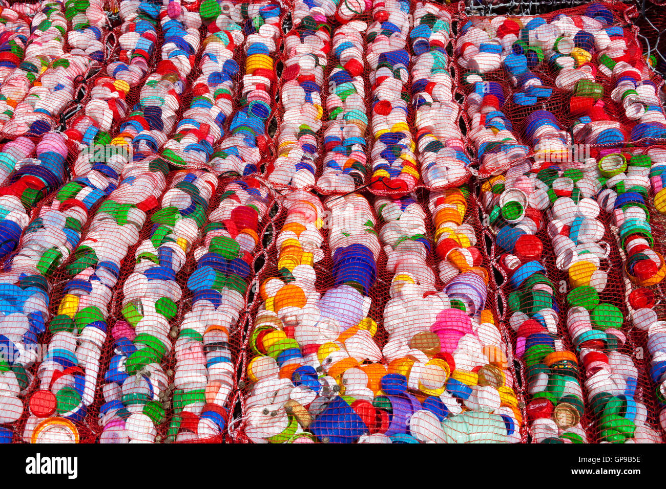 Recycled plastic bottle tops, Mozia, Sicily, Italy - Stock Image