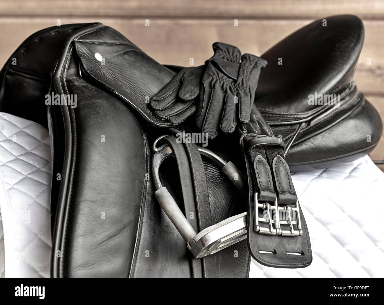 Used black dressage horse riding saddle with girth, stirrup and riding gloves on white saddle pad - Stock Image