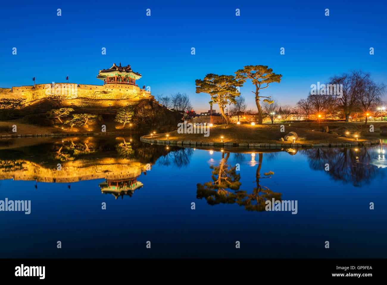 Reflection of Suwon Hwaseong fortres in Suwon,South Korea. - Stock Image