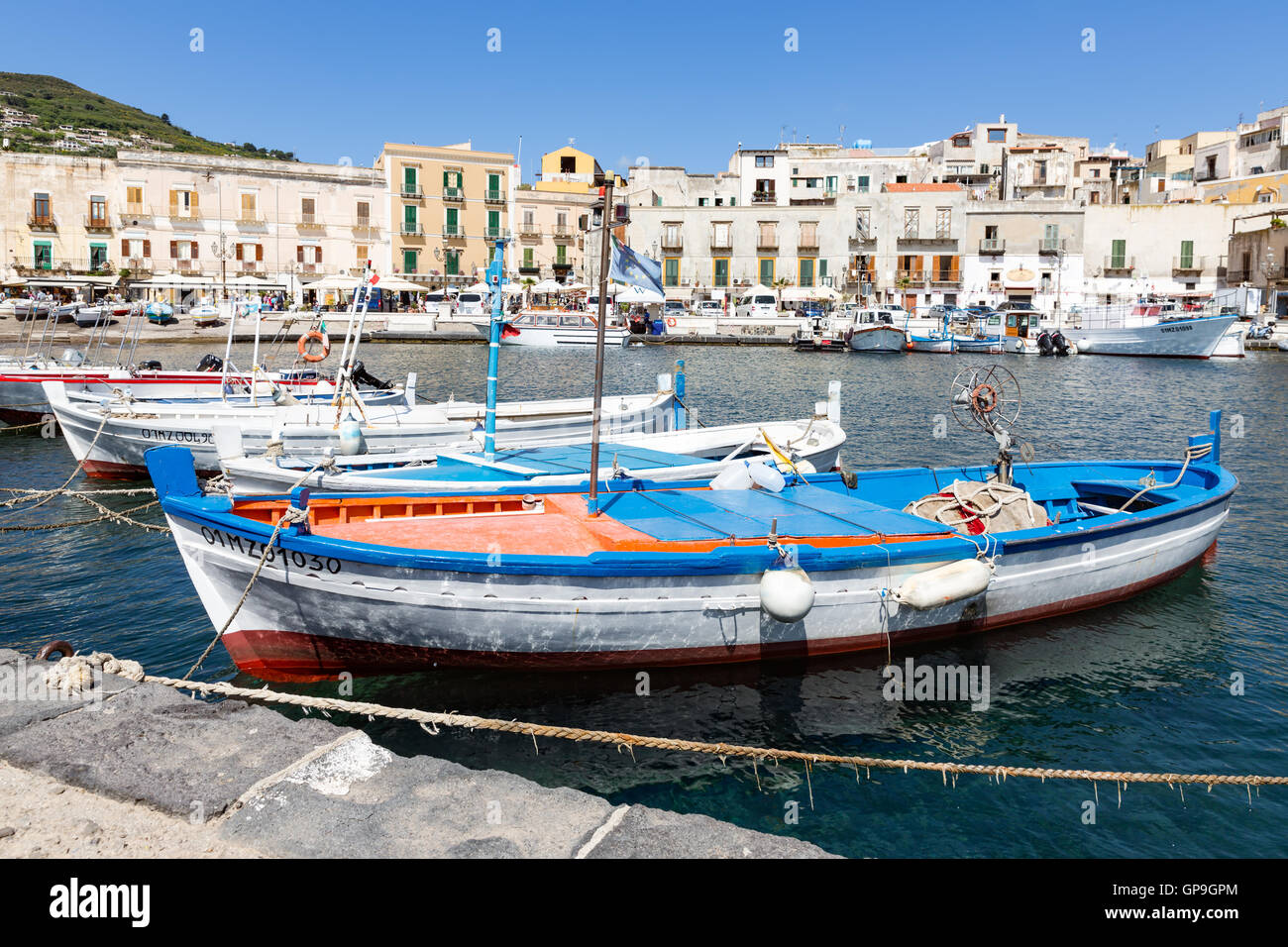 LIPARI, ITALY - MAY 24: Harbor of Lipari at the Aeolian islands on May 24, 2016 at Sicily, Italy - Stock Image
