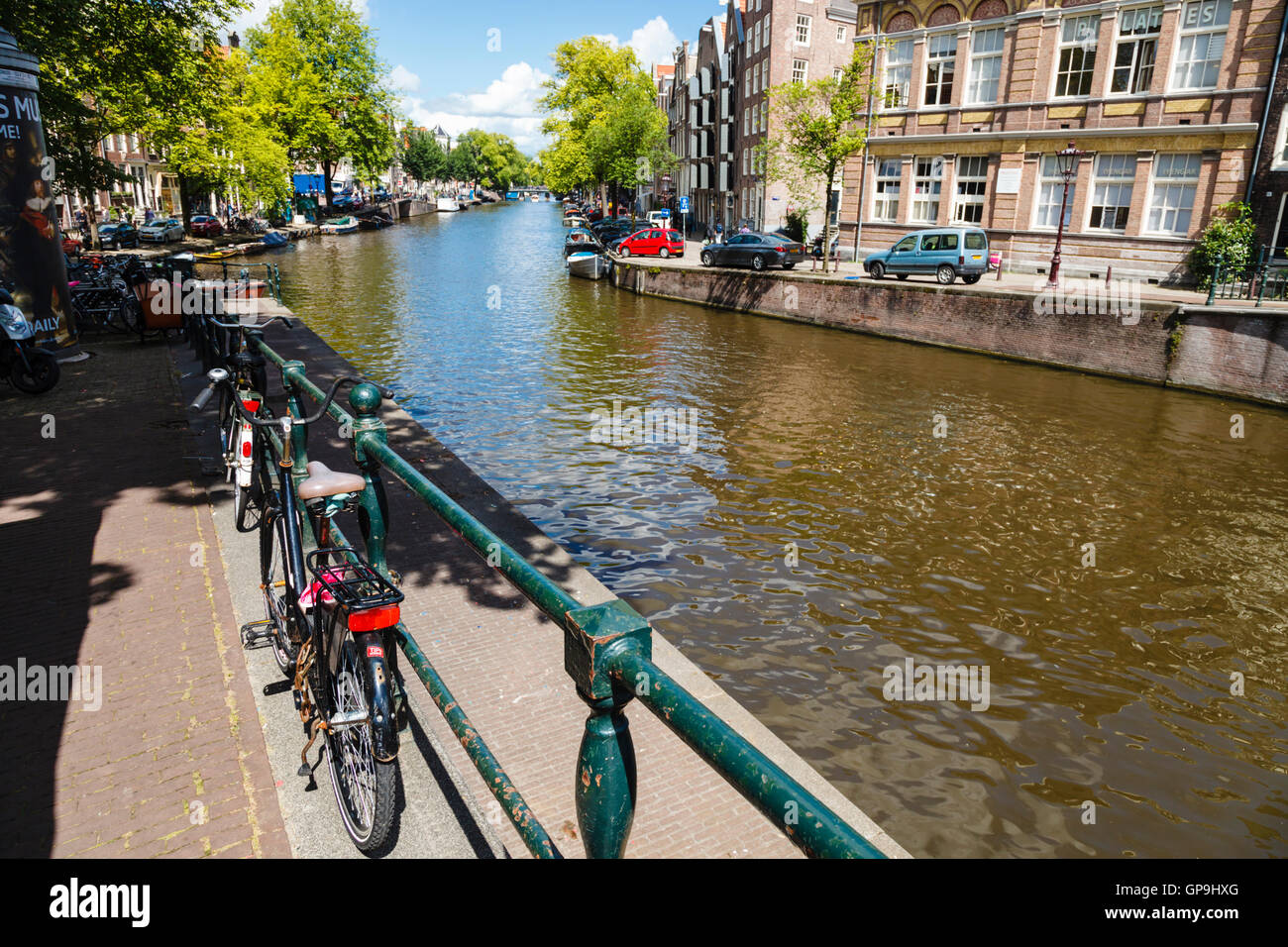 A view along the Prinsengracht canal Amsterdam Holland Netherlands - Stock Image
