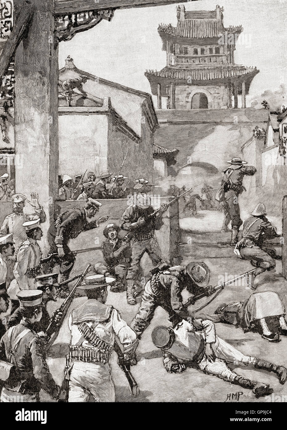 Fighting at The Battle of Tientsin, or the Relief of Tientsin, Northern China, July 13–14, 1900, during the Boxer - Stock Image