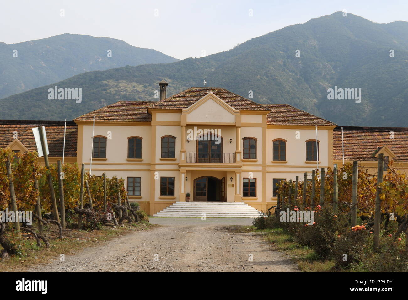 Vineyard mansion at Koyle Family Vineyards, Los Lingues, Alto Colchagua,Chile - Stock Image