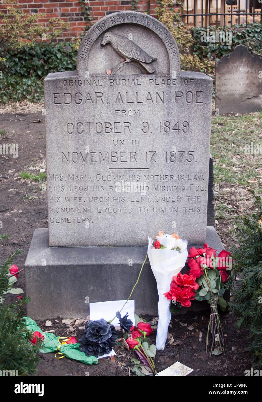 Edgar Allen Poe Grave in Baltimore Maryland - Stock Image