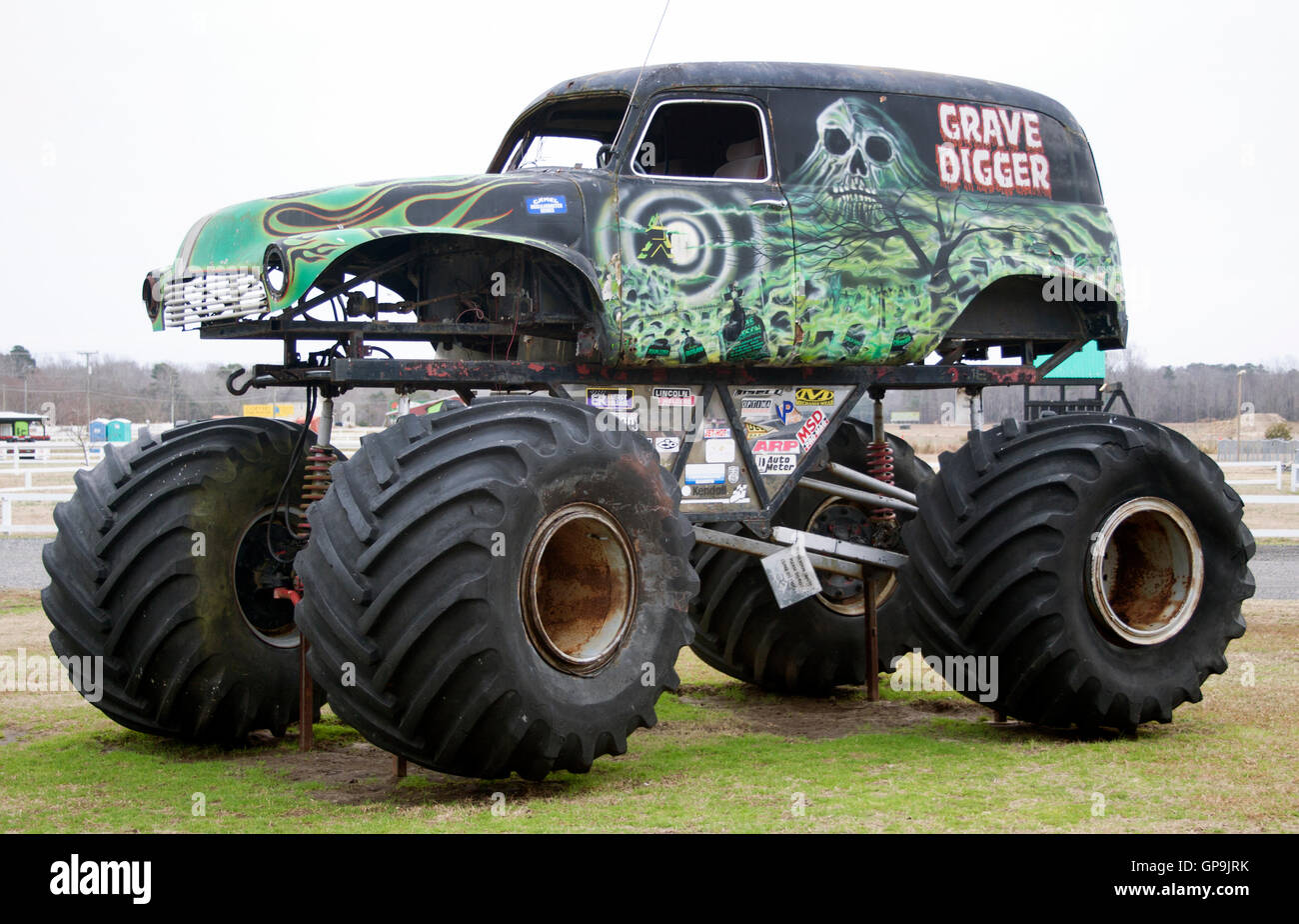 Reaper Truck For Sale >> Monster truck Grave Digger museum in Poplar Branch North Carolina Stock Photo: 116996983 - Alamy