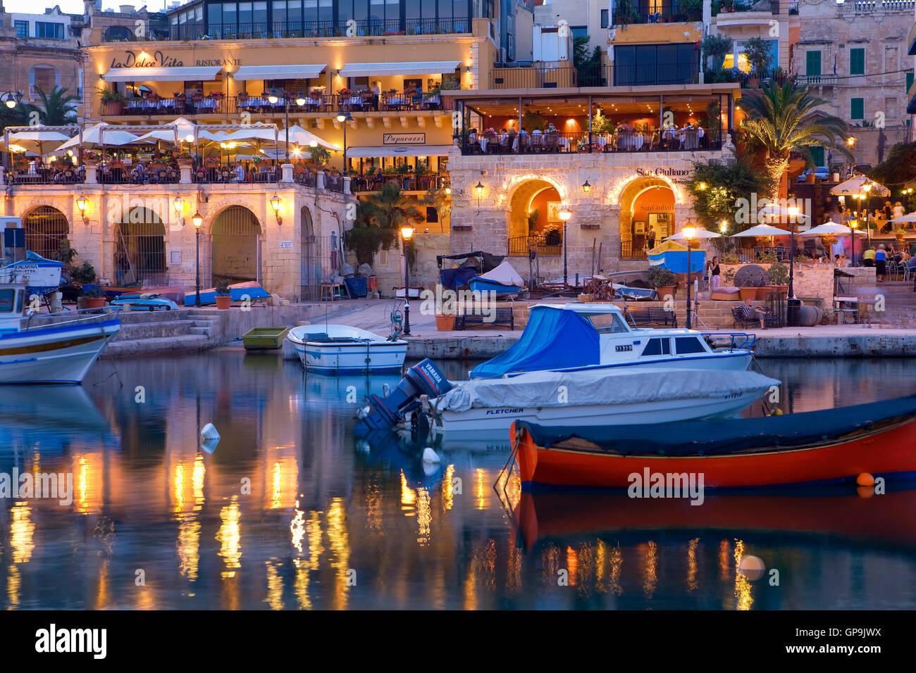 Spinola Harbour at St. Julian bay, Valletta, Malta - Stock Image