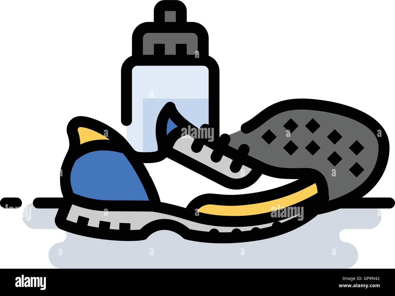 Running shoes with water bottle - Stock Vector