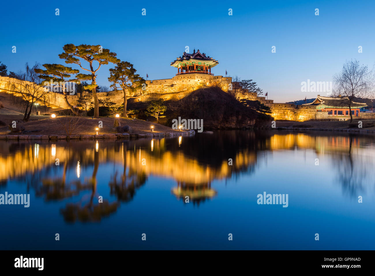 Hwaseong Fortress, Traditional Architecture of Korea in Suwon at Night, South Korea. - Stock Image