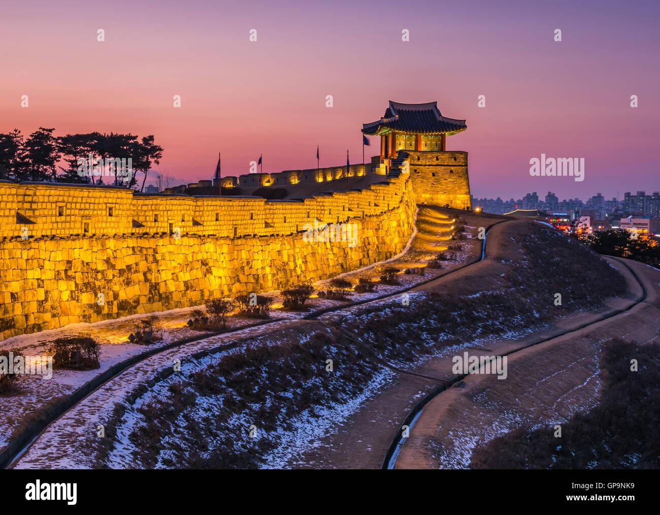 Korea,Sunset at Hwaseong Fortress in Suwon, South Korea. - Stock Image