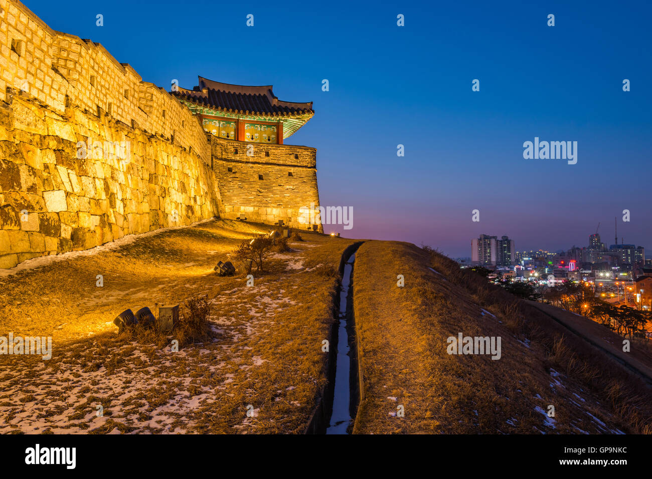 Korea,Sunset at Hwaseong Fortress in Suwon, South Korea. Stock Photo