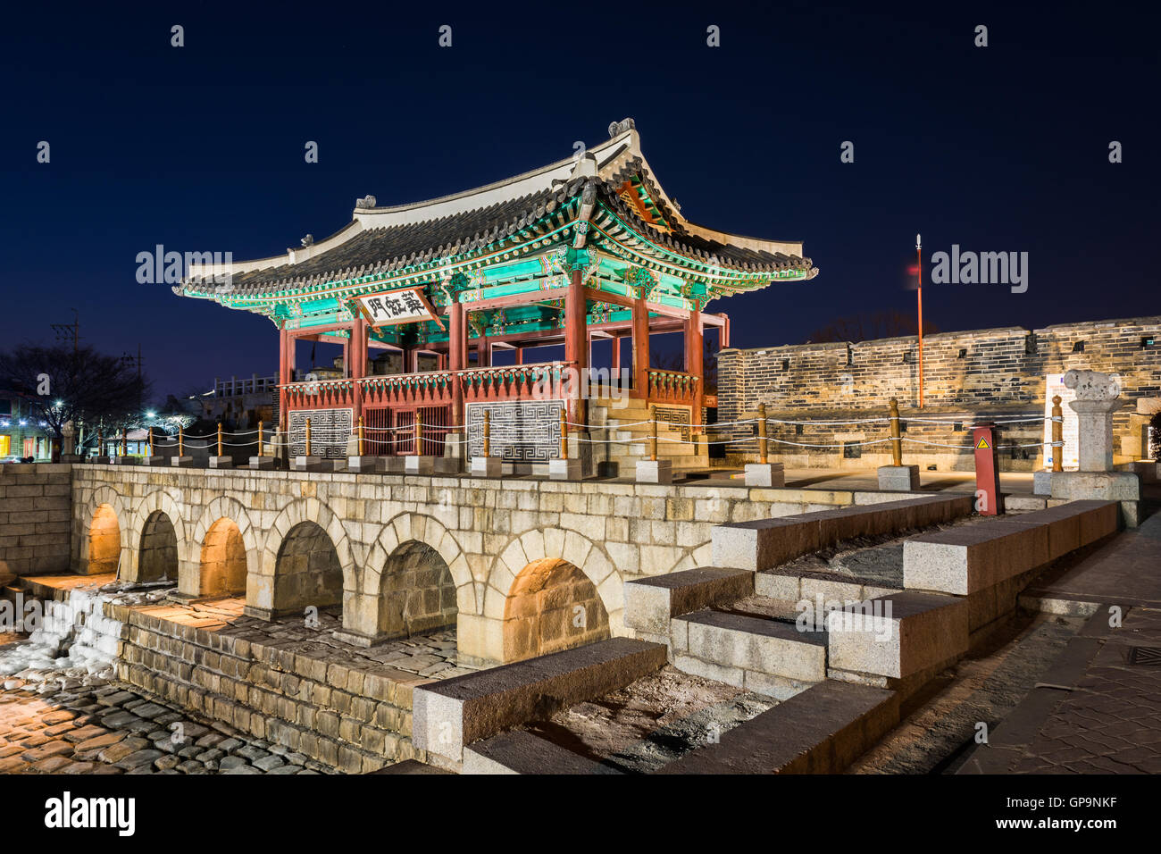Korea,Hwaseong Fortress, Traditional Architecture of Korea in Suwon at Night - Stock Image