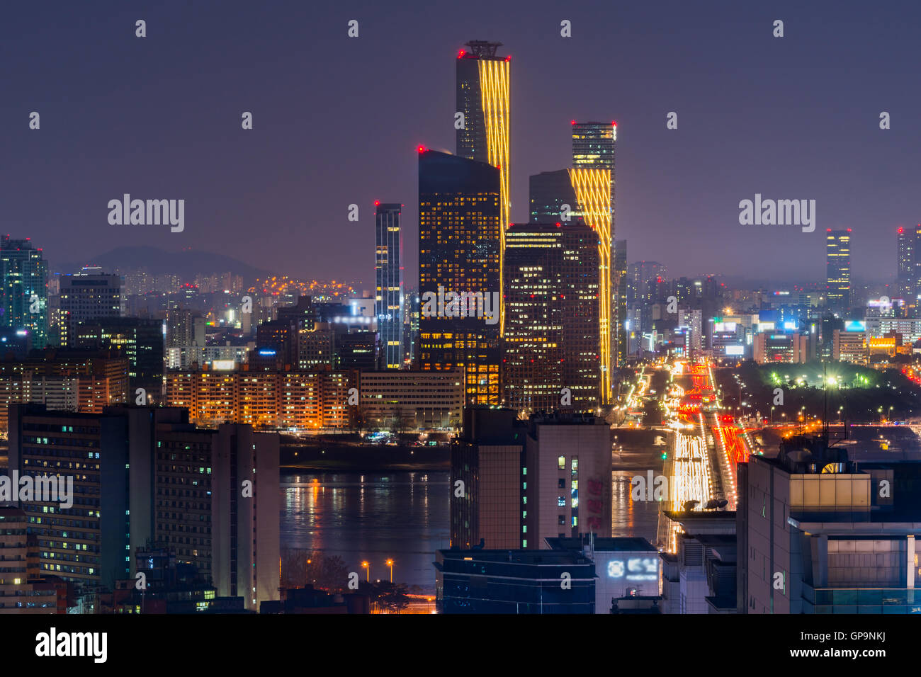 Korea,Seoul at night, South Korea city skyline - Stock Image