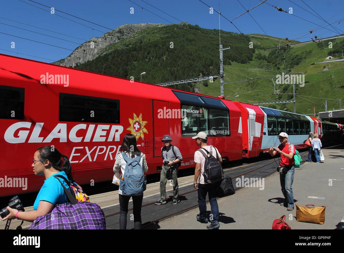 Glacier Express in station, Switzerland - Stock Image