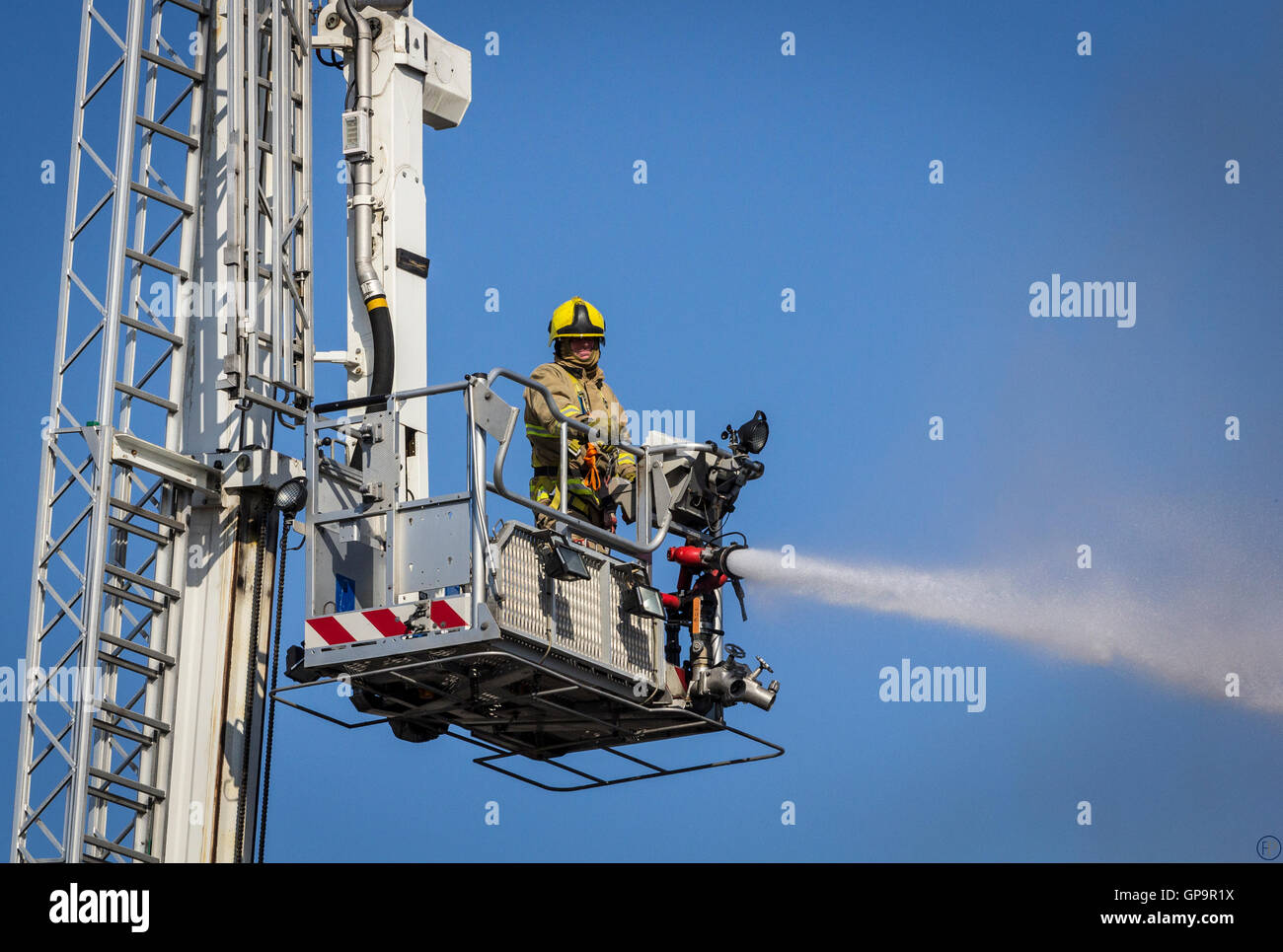 East Sussex Fire & Rescue Service Aerial Ladder Platform in action. - Stock Image