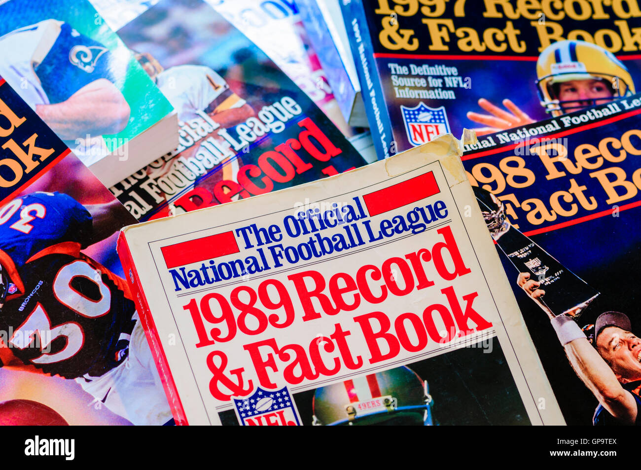 NFL official American Football yearbooks from 1989 to 1999 - Stock Image