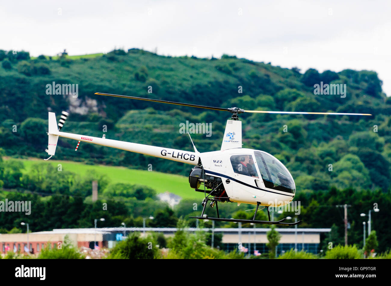 G-LHCB (formerly G-SIVX) Robinson R22 BETA helicopter with a LYCOMING O-360-J2A engine, owned by London Helicopter - Stock Image