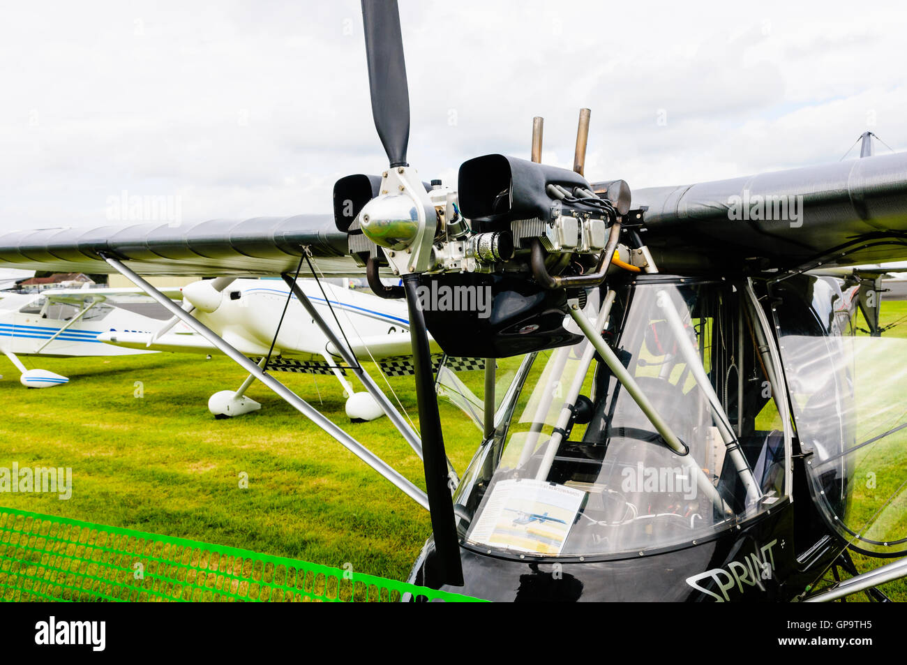 Jabiru 2200 four-stroke, flat four, air-cooled aircraft engine on a Thruster T600N Sprint microlight - Stock Image