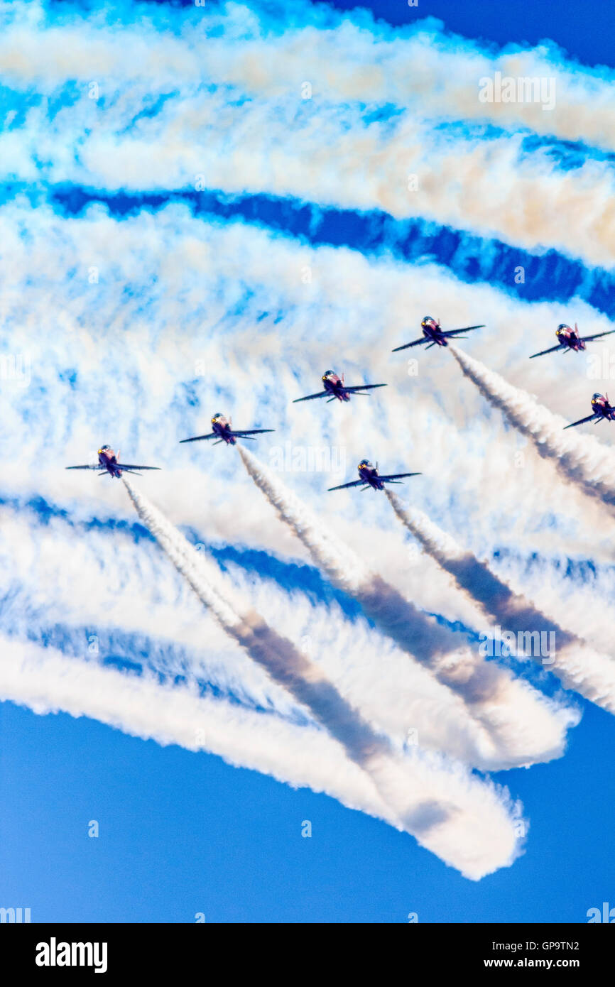 Red Arrows RAF Aerobatics Display Team at Eastbourne International Airshow Airbourne 2016 - Stock Image